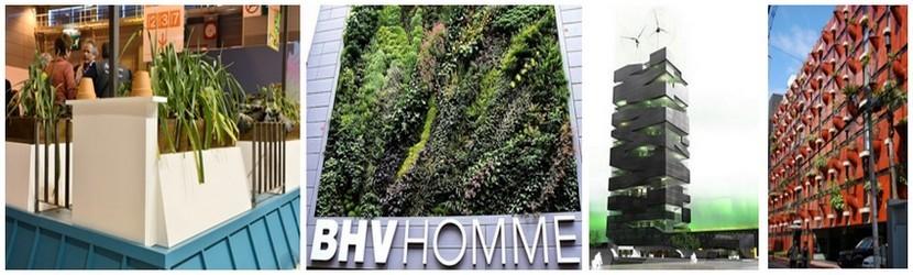 De gauche à droite :photo du toit végétalisé du stand de l'école AgroParisTech (Crédit photo APFOUCHA/SIA 2014); Jardin vertical au BHV à Paris (Crédit Photo DR); Tour Vivante de l'Agence SOA (Crédit photo Agence SOA); Jardin vertical sur un building à Osaka (Japon) (Crédit photo DR)
