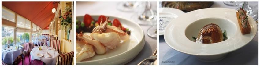 De gauche à droite : la lumineuse terrasse du restaurant La Méditerranée; Médaillons de lotte cuisinés comme la paëlla avec riz de veau au chorizo;  Foie de veau de lait... (Photos Agence Prad's Com)