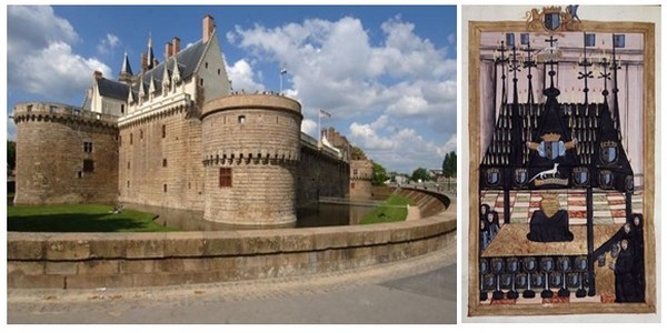 De gauche à droite : Chateau-des-ducs-de-Bretagne-Nantes ( Photo JDBillaud-Nautilus); 4. Chapelle ardente du coeur de la reine aux Carmes de Nantes  ( Photo Petit Palais)