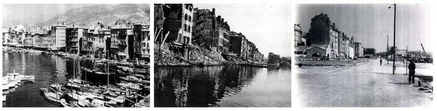 De gauche à droite : le port de Toulon avant la guerre; Le port détruit pendant la dernière guerre; Le port après les premiers déblaiements ( © DR)