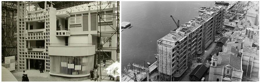 De gauche à droite : Maquette échelle 1 de l'Unite d'habitation de Toulon - Facade ;  Vue aérienne des premiers travaux des immeubles de La Frontale à Toulon ( © DR)