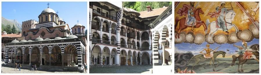 Le monastère de Rila plusieurs fois détruit et brûlé par les Ottomans fut reconstruit au XIXè siècle et demeure l'emblème de l'âme bulgare, son symbole de résistance aux occupants.(Crédit photos Catherine Gary)