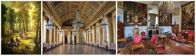 De gauche à droite : La seconde salle de bal réaménagée sur ordre de l'Empereur  Napoléon 1er ainsi que le salon de musique (Crédit photos DR)