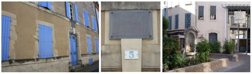 De gauche à droite : Maison natale de Jaurès; La plaque commémorative apposée au-dessus de la porte; Musée Jean-Jaurès à Castres (Crédit photo CC By-SA 3.0 Roudière)