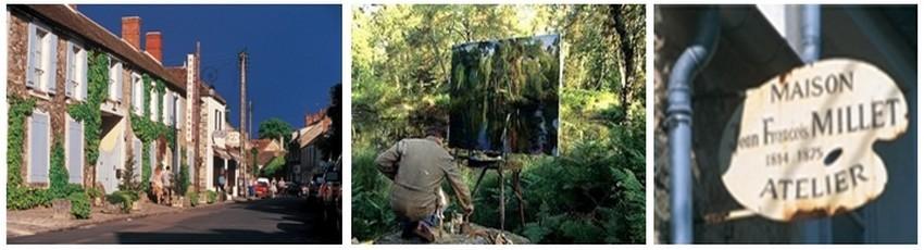 Le petit village de Barbizon en lisière des bois devint vers la moitié du XIXe siècle le lieu de rendez-vous des peintres paysagistes conquis par le lieu.A gauche l'auberge musée Ganne (Crédit photos DR)