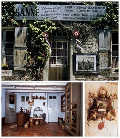 De haut en bas : L'auberge musée Ganne grand rendez-vous des peintres à la moitié du 19ème siècle. La troisième photo est une fresque  peinte à même le mur en bois de l'auberge (Crédit photos DR)