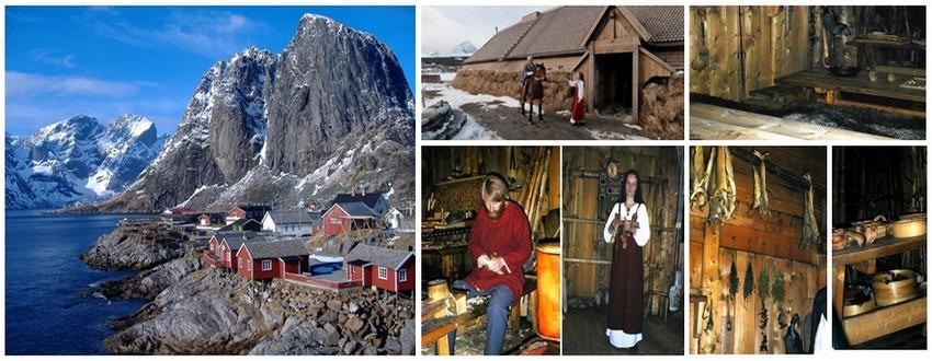 Des vestiges d'une habitation de chef Viking ont notamment été trouvés à Borg sur l'île Vestvågøy. Elle renferme la plus grande salle des fêtes jamais mise au jour.Une réplique du bâtiment a été construite, et le Musée Viking Lofotr à Borg a été inauguré en juin 1995. De son côté, Vågar, près de Kabelvåg, est la seule ville médiévale des régions septentrionales.(Crédit photo Lofotr-Viking-Museum-Northern-Norway)