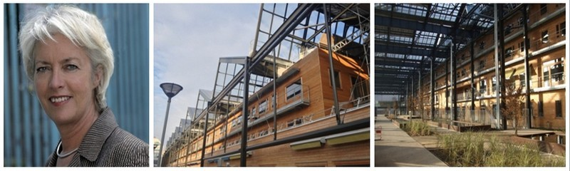 De gauche à droite : 1/ l'architecte Françoise-Hélène Jourda, l'une des rares spécialistes de « l'architecture environnementale » en Europe qui a imaginé cette auberge de jeunesse Yves-Robert à Paris, 100% eco-durable.(Crédit photos www.fuaj.org)