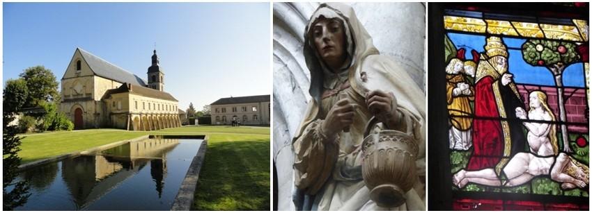 De gauche à droite : Abbaye d'Hauvillers  (© DR) ; Statuaire Ecole Troyenne (© DR);  vitraux datant du XIIè au XVIè siècle (© Catherine Gary)