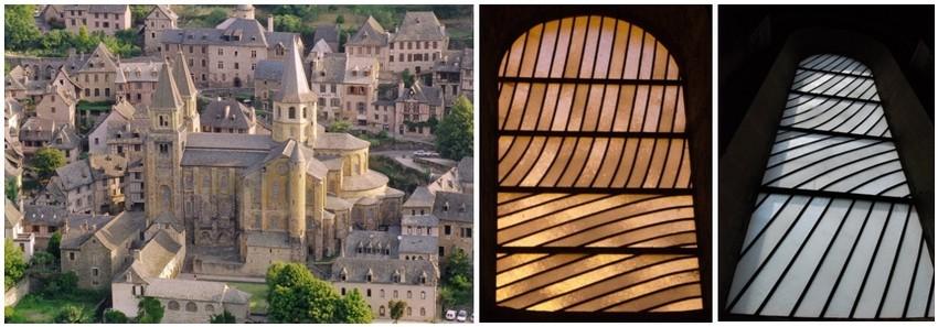 En 1986, l'Etat en la personne de Jack Lang, alors ministre de la Culture demande à Pierre Soulages de réaliser des vitraux pour l'abbatiale Sainte-Foy de Conques. (© O.T. Rodez)