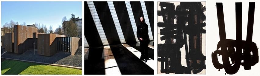 De gauche à droite : Le musée Soulages, un bâtiment résolument contemporain.( ©Photo O.T. de l'Aveyron); Pierre Soulages pose dans une des salles du musée ou la lumière est dispensée en fonction de ses oeuvres (© photo JM Kiener); brou de noix (© CR musée Soulages);Lithographie N°29-Donation Pierre et Colette Soulages. (© CR musée Soulages -Rodez)
