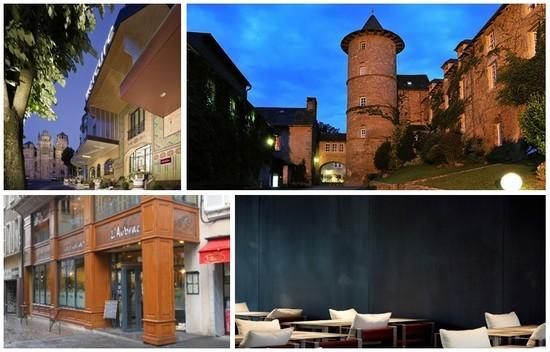 Haut à gauche : Le Mercure de Rodez (© photo DR);  A droite l'Entrée de L'Hostellerie de Fontanges ( © photo DR); En bas à gauche : l'Aubrac à Rodez (© photo DR); à droite Le Café Bras situé à l'intérieur du musée Soulages dans le respect du noir et blanc chers à l'artiste (© photo ch.Bousquet)