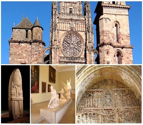 En haut : La Cathédrale Notre-Dame de Rodez (© Photo DR); En bas à gauche : Musée Fenaille, statue-menhir (© photo DR); 2/Musée Denys-Puech.. datant du début du XXe siècle et qui porte le nom du sculpteur né à Bozouls près de Rodez (© photo DR); 3/ L'abbatiale à Conques célèbre pour son tympan et les vitraux de Pierre Soulages (© photo DR)