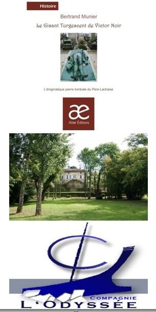 De haut en bas : couverture du livre de Bertrand Munier (Alter Editions); Les jardins du Presbytère de Monthureux-sur-Saône dans les Vosges (Crédit photo DR); Logo de la Cie de l'Odyssée (Crédit photo Cie de l'Odyssée)