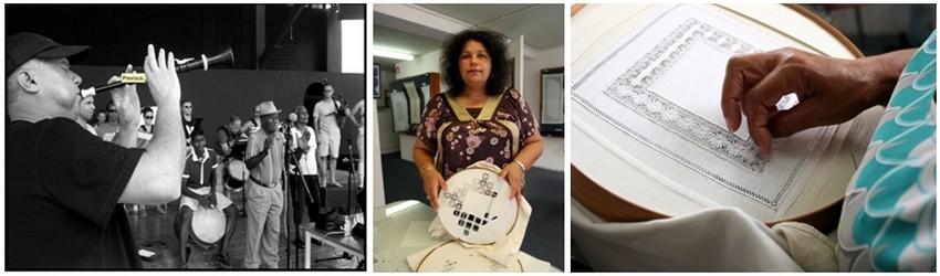 De gauche à droite :Le chanteur Réunionnais Firmin Viry (Crédit photo DR); 2 et 3 Les brodeuses de Cilaos (Ile de la Réunion) (Crédit Photos David Raynal)