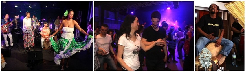 De gauche à droite : Une danseuse de maloya (Crédit photo David Raynal); Fest-noz à Cachan (France) (Crédit photo David Raynal); Le percussionniste du groupe réunionnais Rasmaron (Crédit photo David Raynal)