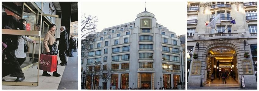 Galeries Lafayettes, Louis Vuitton et les célèbres marques situées dans le passage des Arcades sur les Champs-Elysées,font toujours le bonheur des touristes (Crédit photo DR)