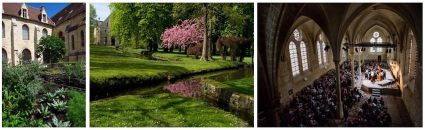 De gauche à droite : Jardin des Neuf carrés (Crédit photo J.Johnson); Canaux creusés par les moines cisterciens (Crédit photo M.Chassat); Concert au refectoire des moines. (Crédit photo A.Poupeney)