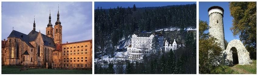 De gauche à droite :  l'abbaye de Teplá ; L'Hôtel Esplanade Spa & Golf Resort *****  en hiver;la tour d'observation Hamelika, sur les pentes portant les noms de Slalomář (le slalomeur) et Krakonoška (Crédit photos Czechtourism.com)