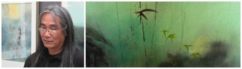 De gauche à droite : Portrait du Peintre-Aquarelliste Eban; Une aquarelle de l'artiste (Crédit photo DR)