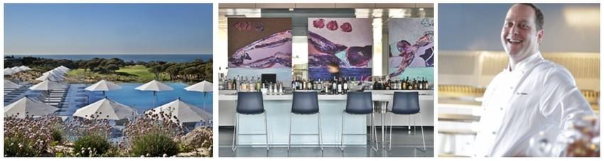 De gauche à droite :  Magnifique espace de détente face à la mer de l'Hôtel de Luxe The Oitavos ; Ambiance douce et en couleur au bar du restaurant l'Ipsylon au  The Oitavos situé sur la Côte d'Estoril et  son chef Cyril Devilliers qui propose une cuisine inventive inspirée des traditions portugaises et françaises. (Crédit photo DR)