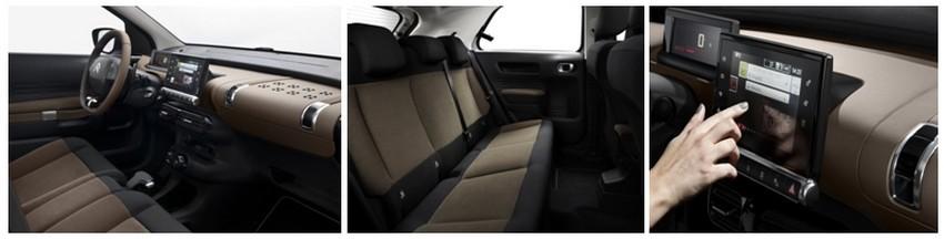 De gauche à droite : Un intérieur chic et bien fini ; A l'arrière les passagers ne manquent pas de place; Toutes les commandes sont réunies sur la tablette tactile; (Crédit photos DR)