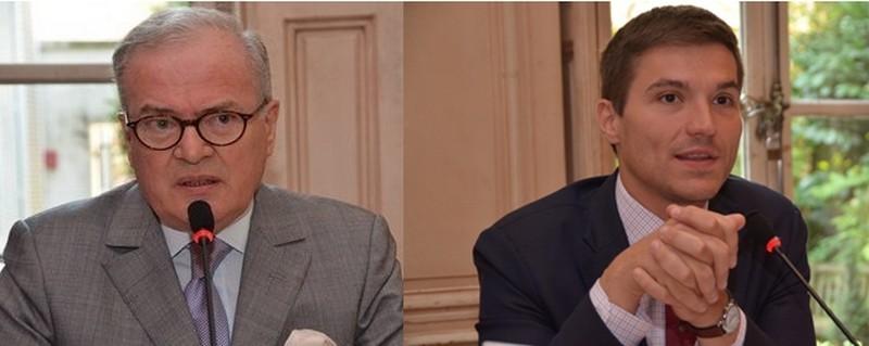 De gauche à droite :  Christian Perret, Président-fondateur du FIG, Député-Maire honoraire de Saint-Dié-des-Vosges Vice-Président du Conseil Franco-Britannique ;  David Valence  le nouveau maire de Saint-Dié-des-Vosges (Crédit photo David Raynal)