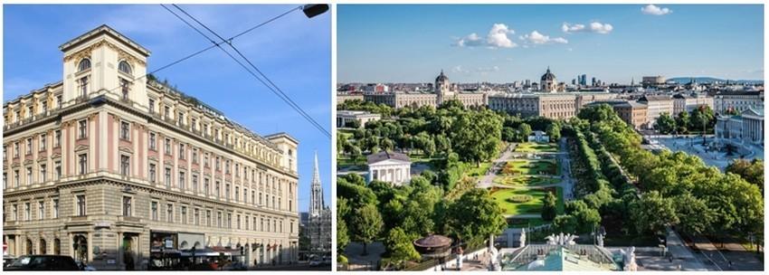 De gauche à droite le célèbre Palais Ephrussi à Vienne; Le Wolksgarten et les musées. (Copyright : Wien Tourismus/Christian Stemper)