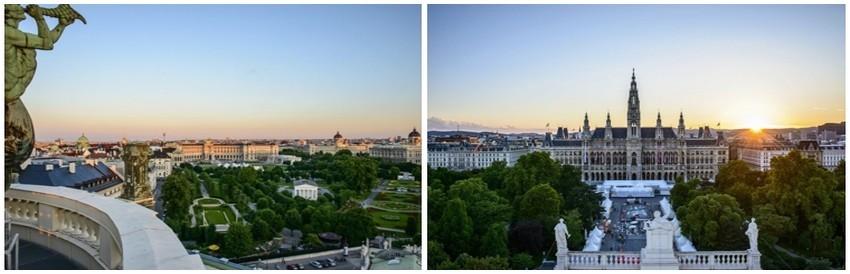 De gauche à droite : La Heldenplatz et les musées ; L'Hôtel de Ville de Vienne(Copyright : Wien Tourismus/Christian Stemper)