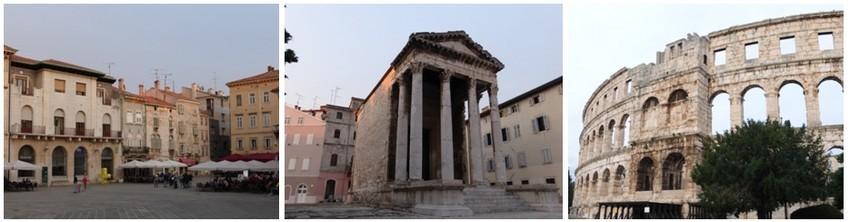 Les Romains puis les Vénitiens ont laissé à Pula des traces de leur passage: l'amphithéâtre, le Temple d'Auguste et plus tard, des palais inspirés de la Sérénissime.( Crédit photos Catherine Gary)