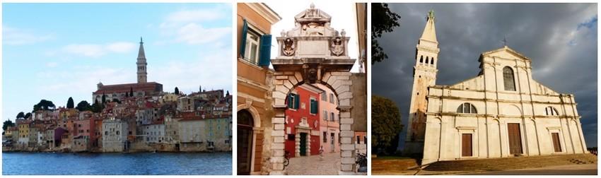 Il faut arriver à Rovinj par la mer pour admirer le village grimpant vers sa cathédrale. Porte d'Or, maisons aux façades rouges ou terre de Sienne, cathédrale Sainte-Euphémie. Crédit photos Catherine Gary)