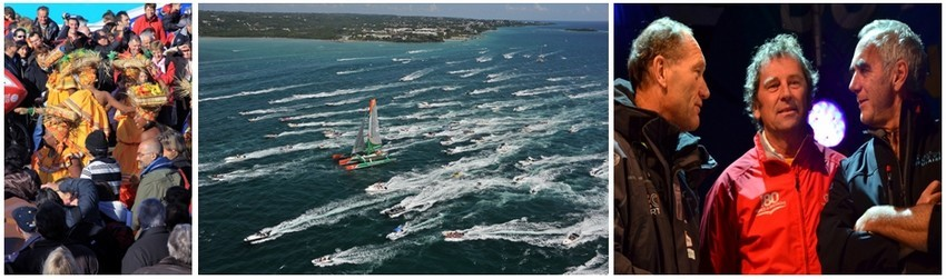La Route du Rhum  a été et demeure pour la Guadeloupe en dehors d'une grande fête populaire, le vecteur de  la reconquête de la mer. De gauche à droite, les skippers Francis Joyon, Lionel Lemonchois et Loïck Peyron en grande discussion lors de la présentation des skippers.   (Crédit photos David Raynal)