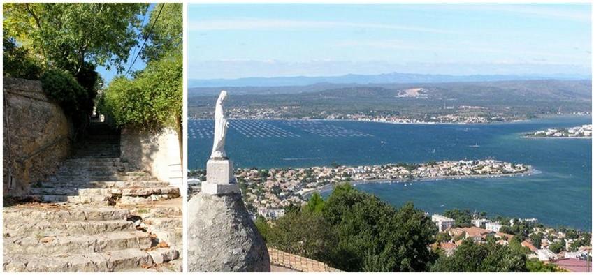 De gauche à droite : Les escaliers sont rudes pour gravir le mont Saint-Clair.(Crédit photo André Degon); Vue depuis le Mont Saint-Clair sur le bassin de Thau( Sète )(Crédit photo DR)
