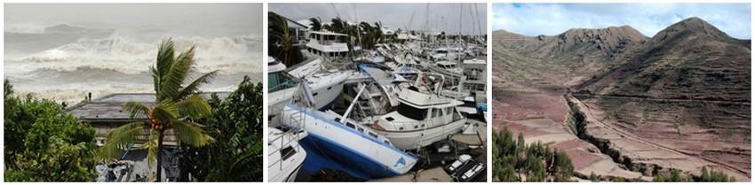 Habiter la terre c'est aussi prendre des risques tels les cyclones, les tsunamis et les tremblements de terre. ( Crédit photos DR)