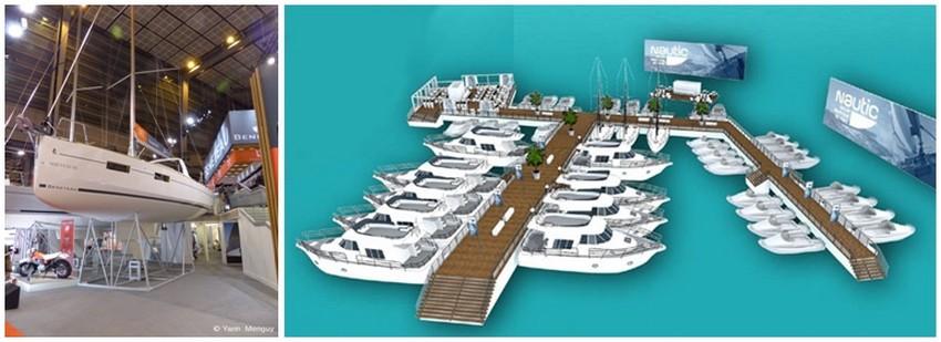De gauche à droite : Photo du voilier du Groupe Bénéteau; La « Marina du Nautic ». Un espace doté de ponton, conçu comme une véritable Marina permettra d'admirer les bateaux comme sur un salon à flot (Crédit photo  Salon le Nautic 2014).