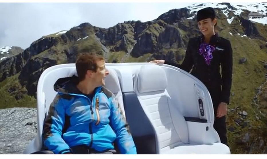 Air New Zealand fait tout pour inciter ses passagers à suivre les consignes de sûreté à bord.  La video s'intitule « The Bear Essentials of Safety » et met en scène l'expert en survie qui donne les consignes de sécurité tout en arpentant Routeburn, une randonnée en Nouvelle Zélande. (Crédit photo DR)