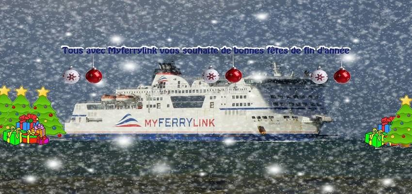 L'un des navires de MyFerryLink décoré aux armes des fêtes de fin d'année.  (Crédit photo MyFerryLink)