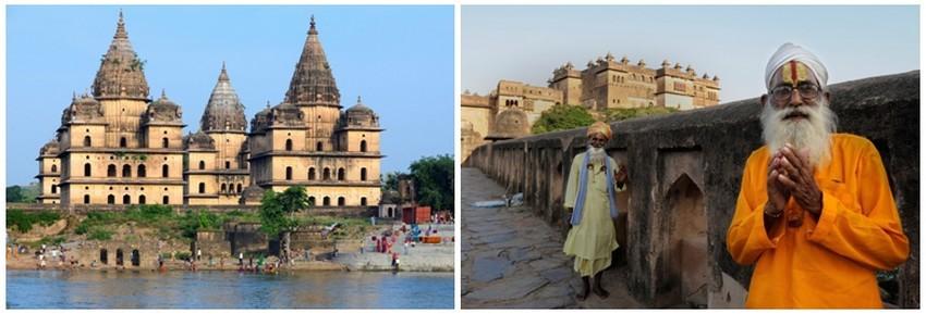 De gauche à droite : Orchha, les ghats au pied des cénotaphes royaux ; Orchha, sadhus devant le palais Raj Mahal (Crédit photos Fabrice Dimier)