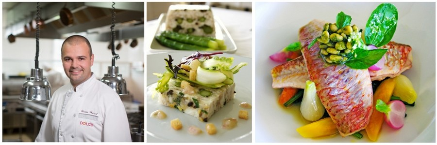 Dorian Wicart en cuisine et plusieurs de ses plats dont La terrine du chef et bien sûr le Rouget façon Dorian Wicart (Crédit photos DR)