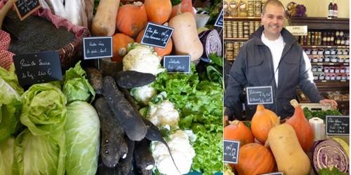 1/ De bon matin au marché de Chantilly un étal de légumes frais; 2/ Le magasin bio de l'AMAP et ses Paniers gourmands appréciés par le chef Dorian Wicart  (Crédit photos Catherine Gary))