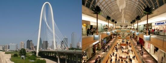 1/ Margaret Hunt Hill Bridgen, un pont de 560 mètres réservé aux piétons qui enjambe la Trinity River de son arche de 122 mètres (Crédit photo bonicklandscaping.com);2/ l'Atrium lumineux de la Galleria.(Crédit photo DR)