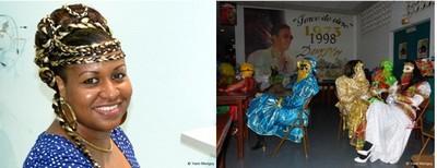 De gauche à droite : la chanteuse Nadège Chauvet, accompagnée par le groupe emblématique Les Mécènes, enflamme le bal dans le célèbre dancing Polina  de la petite ville de Matoury située non loin de Cayenne (Crédit photos Yann Menguy)