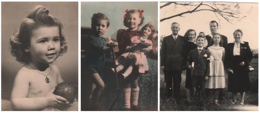 De gauche à droite : ) Claude Dhôtel âgé seulement de 18 mois. 2/ ) Claude et sa sœur Nicole à Champenoux (54) chez leurs grands-parents ; 3/ ) 1958 : première communion en famille.( collection personnelle d'Annette Dhôtel l'épouse de C. Jérôme)