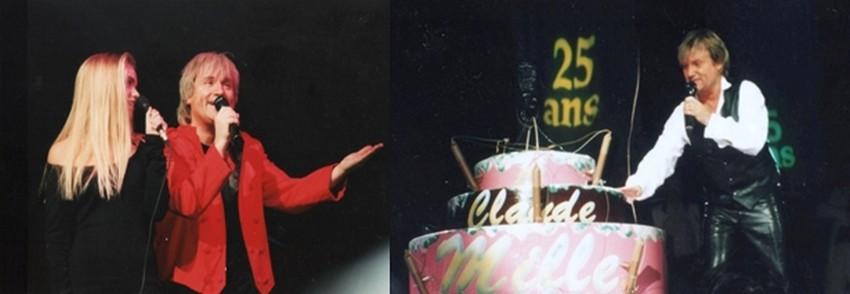 De gauche à droite : 1993 sur la scène de l'Olympia, un instant d'émotion partagé avec sa fille Caroline;  1993 : de retour chez lui sur la scène du Zénith à Nancy.(Collection personnelle d'Annette Dhôtel épouse de C. Jérôme)