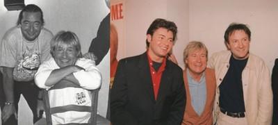 De gauche à droite :  Jean-Pierre était le bassiste attitré de son frère Claude; Un retour en Lorraine aux côtés également de l'animateur de RTL Jean-Luc Bertrand.(Collection personnelle d'Annette Dhôtel épouse de C. Jérôme)