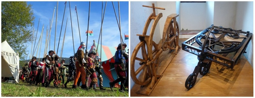 De gauche à droite : Reconstitution Bataille de Marignan dans le Val de Loire; Maquette d'après les travaux de Léonard de Vinci au Clos lucé  (Crédit photo Catherine Gary)