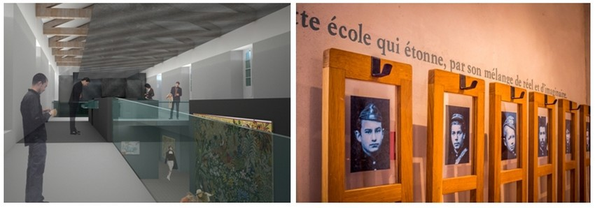 De gauche à droite : Intérieur Musée Dom Robert et de la Tapisserie du XXè siècle  dans leTarn.; Portrait des anciens élèves de l'Abbaye-Ecole (Crédit photo PascaleWalter )
