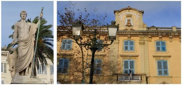 De gauche à droite : Napoléon en Neptune sur la Place Saint Nicolas  (©Catherine Gary); Place du Marché à Bastia (© Catherine Gary)