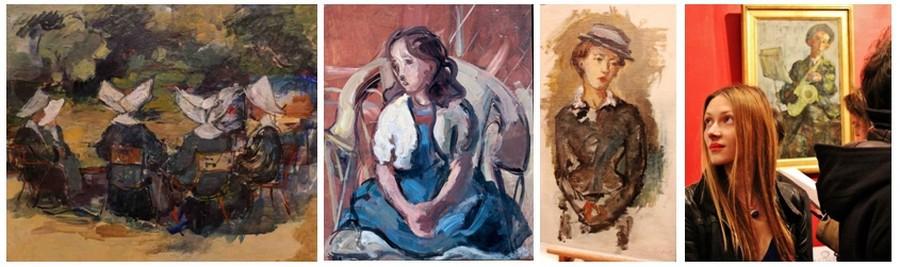 Quatre toiles de David Seifert, de gauche à droite : les bonnes soeurs; Fillette au fauteuil et à la robe bleue (1933); Portrait de femme ; (© DR); Une admiratrice lors du vernissage à la Galerie Les Montparnos (© David Raynal)
