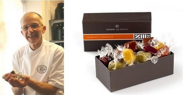 Henri Le Roux dans son laboratoire; Présentation des caramels salés dont il est le créateur et qui a fait sa notoriété à travers le monde. (Crédit photos DR)